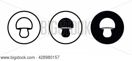 Champignon Mushroom Icon Button, Vector, Sign, Symbol, Logo, Illustration, Editable Stroke, Flat Des