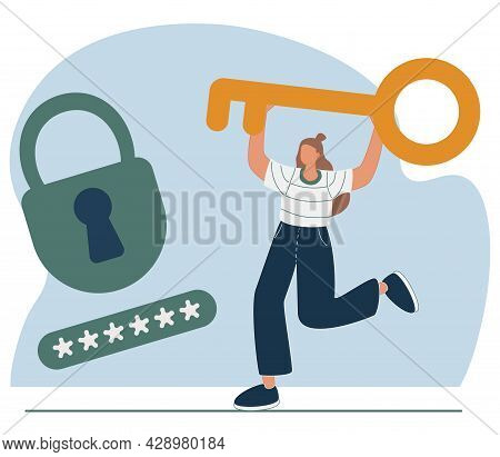 Woman Holding Golden Key. Concept Of Key Person Or Specialist, Keyman, Leader With Important Skill,