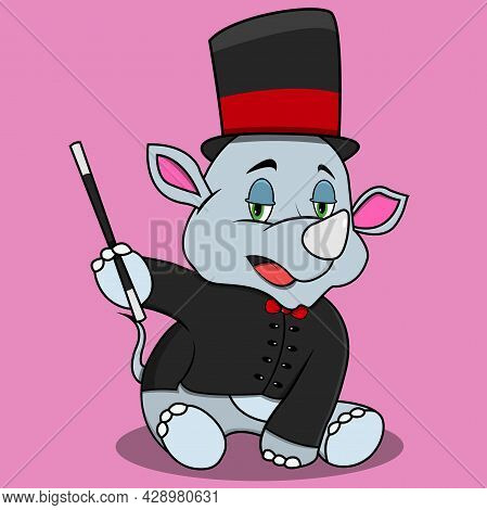 Character Rhinoceros With Magician Custom And Relax, Pink Colors Background, Mascot, Icon, Character
