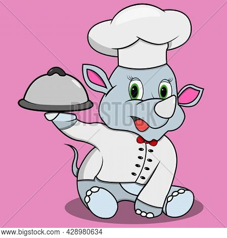 Character Rhinoceros With Chef Custom, Pink Colors Background, Mascot, Icon, Character Or Logo, Vect