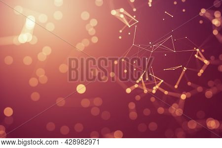 Abstract Background. Molecules Technology With Polygonal Shapes, Connecting Dots And Lines. Connecti