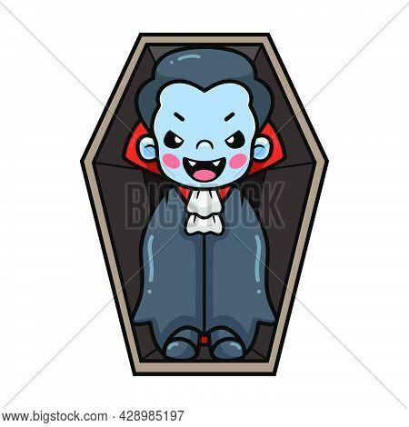 Vector Illustration Of Cute Little Boy Dracula Cartoon Inside Coffin