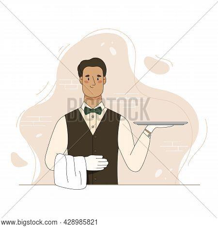 Cartoon Waiter Hold Empty Serving Tray For Food. Vector Flat Illustration