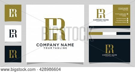 Er Or Re Initial Letter Logo Design With Business Card Logo.