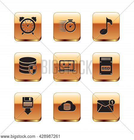 Set Alarm Clock, Floppy Disk Backup, Cloud Database, Dead Laptop, Database Protection And Music Note