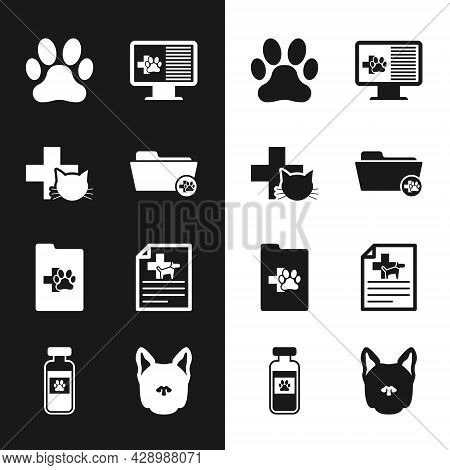 Set Medical Veterinary Record Folder, Veterinary Clinic, Paw Print, Clinical Pet On Monitor, And Cer