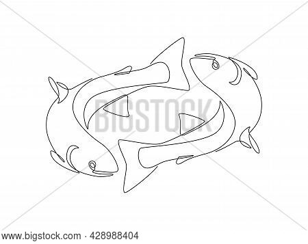 Two Salmons Fish In One Continuous Line Drawing. Wild Trouts Or Tunas In Linear Sketch Style For Res