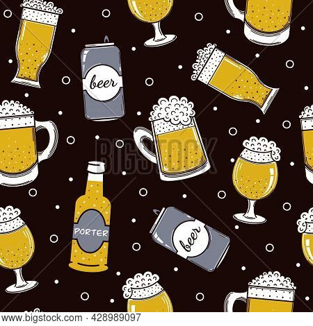 Container With Beer Seamless Vector Pattern. Foamy Drink In A Bottle, Can, Glass, Mug. Alcohol Sketc