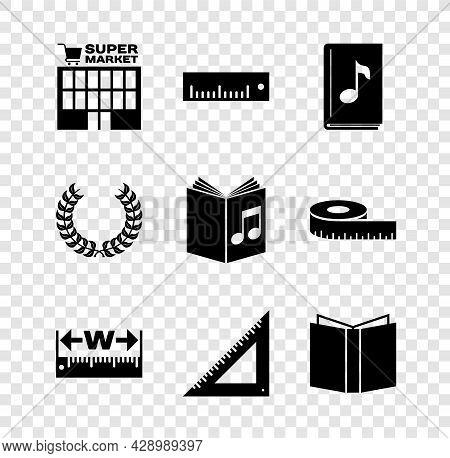 Set Supermarket Building, Ruler, Audio Book, Measuring Height And Length, Triangular Ruler, Open, La