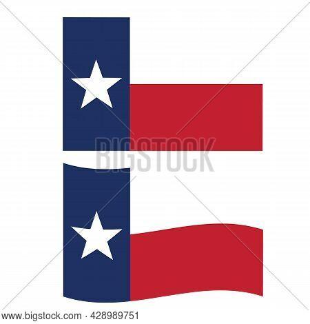 Texas Flag On White Background. Wave Texas Flag Sign. Texas State Symbol. Flat Style.