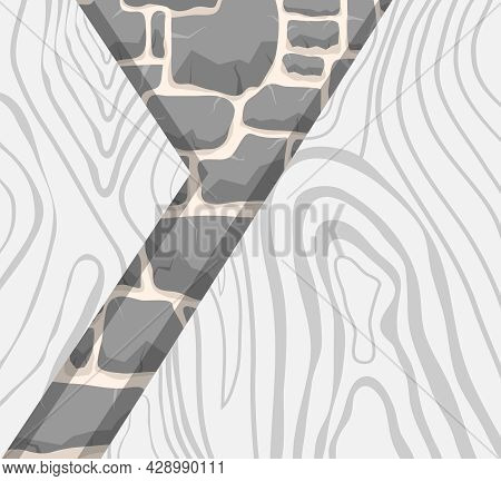 Gray Wood And Stone Texture. Background Image Of Stone And Wood In Gray Tones. Vector Illustration.