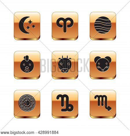 Set Moon And Stars, Astrology Horoscope Circle, Capricorn Zodiac, Ox, Rooster, Planet Jupiter, Scorp