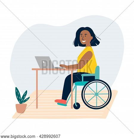 Disabled Brazil Woman Sitting In A Wheelchair. The Concept Of Employment For People With Special Nee