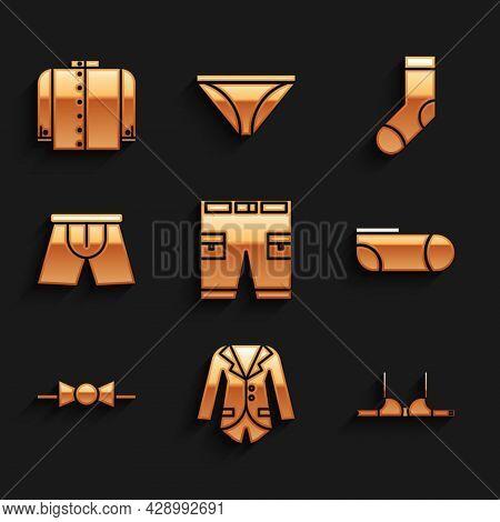 Set Short Or Pants, Blazer Jacket, Bra, Sport Socks, Bow Tie, Men Underpants, Socks And T-shirt Icon