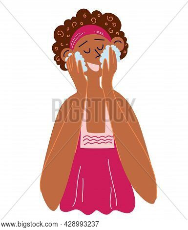 Beautiful Black Woman Washes Her Face. Dark Skinned Afro Girl Using Cosmetic Cleansing Gel. Morning