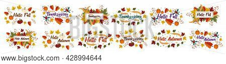 A Set Of Vector Autumn Wreaths And Postcards With The Inscription Hello Autumn, Fall, Happy Thanksgi