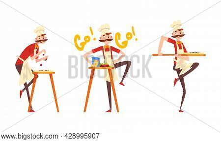 Moustached Male Pizzaiolo In Apron And Toque Preparing Italian Pizza Kneading Dough And Topping With