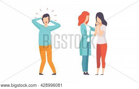 Man And Woman Having Mental Disorder And Psychic Illness Engaged In Psychotherapy And Treatment Vect