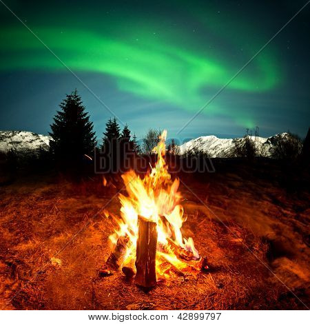 Camp Fire Watching Northern Lights