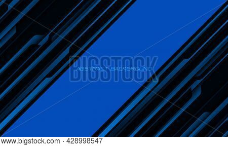 Abstract Blue Black Metallic Shadow Black Line Cyber Geometric Dynamic With Blank Space Design Moder