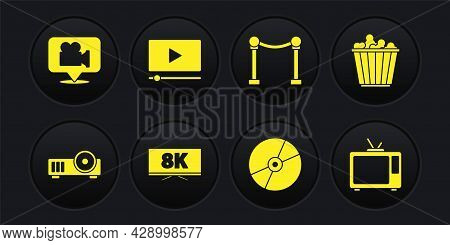 Set Media Projector, Popcorn In Box, Screen Tv With 8k, Cd Dvd Disk, Rope Barrier, Online Play Video