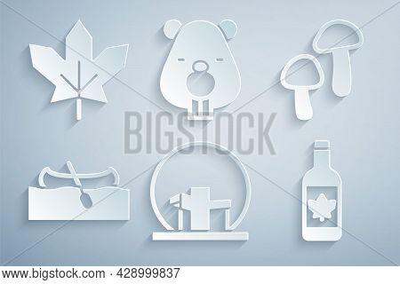 Set Montreal Biosphere, Mushroom, Kayak Or Canoe, Beer Bottle, Beaver Animal And Canadian Maple Leaf