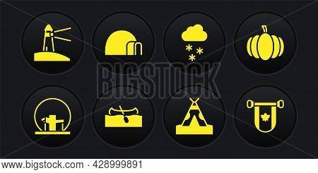 Set Montreal Biosphere, Pumpkin, Kayak Or Canoe, Indian Teepee Wigwam, Cloud With Snow, Igloo Ice Ho