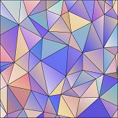 Abstract triangle multicolored background, mosaic vector stained glass poster