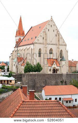 Znojmo, Czech Republic - AUGUST 12. Znojmo city. Church of St. Nicholas in Znojmo.