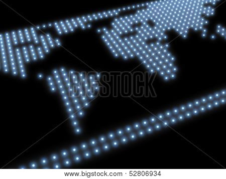 world map, composed of blue glowing spots on a black background
