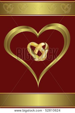 A vector valentines or wedding background  a large central heart and rings on a red background