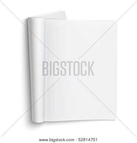 Blank open magazine template with soft shadows.