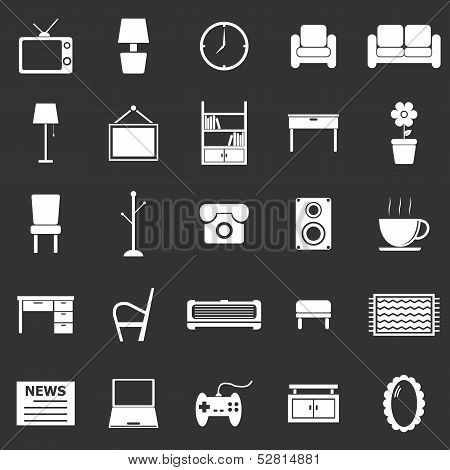 Living Room Icons On Black Background