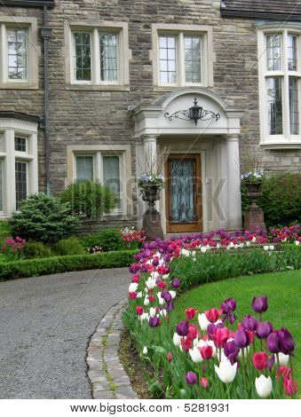 Large House With Circular Driveway And Tulips
