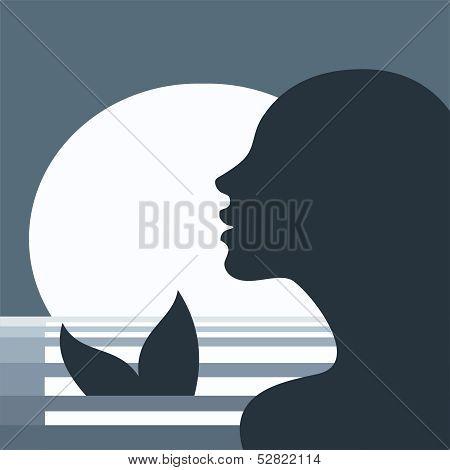 Sea mermaid in the moonlight