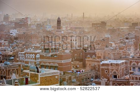 Highly detailed Panorama of Sanaa the capital of Yemen poster