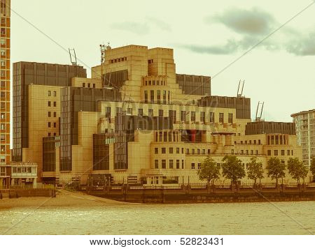 Vintage look SIS MI6 headquarters of British Secret Intelligence Service at Vauxhall Cross London poster