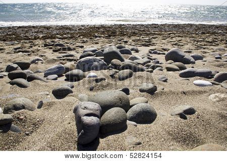 Beach With Pebble And Stones In Mediterranean Coast