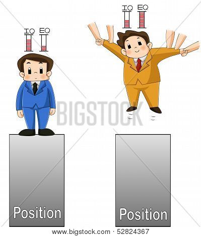 IQ versus EQ. Two men are comparing their work and life position by using IQ and EQ as a successful factor and you can see how far it can take you. poster