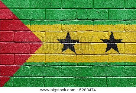 Flag Of São Tomé And Príncipe On Brick Wall