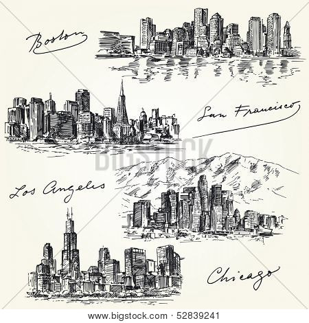 american cities skylines - hand drawn set