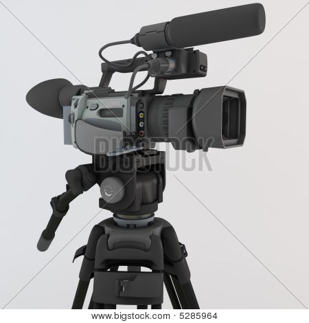 3D render of a modern video camera on tripod isolated over a light surface poster