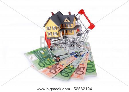 Shopping Cart With Miniature Home On Euro Banknotes Isolated On White