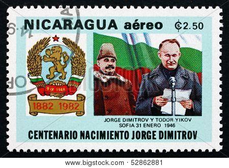 Postage Stamp Nicaragua 1982 Georgi Dimitrov And Todor Zikov