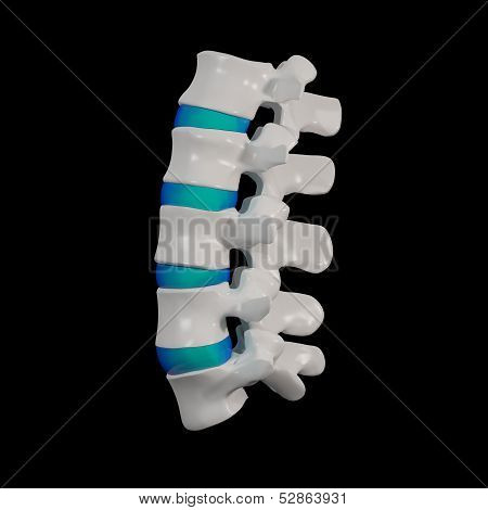 3d rendered - spine structure on black background with blue spinal disc - side view