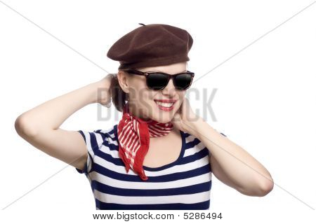 Beautiful Girl In Classic 60S French Look