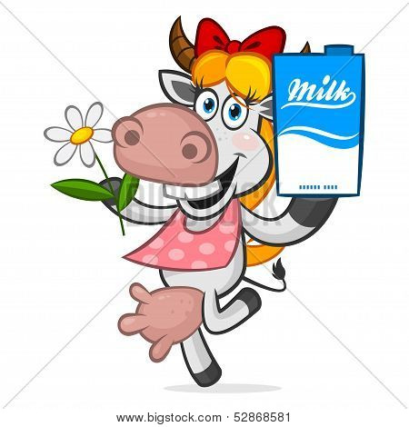 Illustration cheerful cow holding carton of milk, format EPS 8 poster