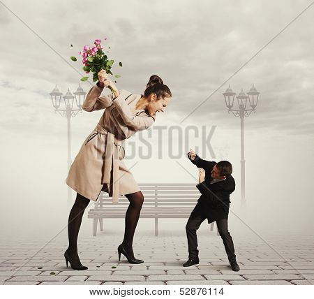 concept photo of quarrel between the man and the woman