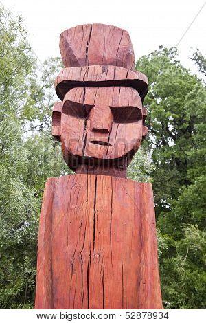 Mapuchean Totem Face At Temuco.