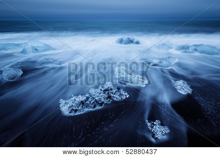 Jokulsarlon with icebergs beached. Iceland.